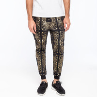 Elwood Metallic Bandana Mens Jogger Pants Black/Gold  In Sizes
