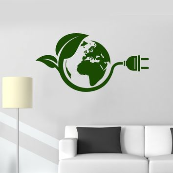 Vinyl Wall Decal Green Energy Globe Earth Eco Power Plug Art Stickers Mural (ig5386)
