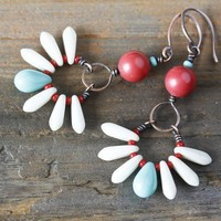 Coral Red and Turquoise Blue Dangle Earrings