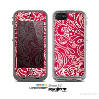 The Red Floral Paisley Pattern Skin for the Apple iPhone 5c LifeProof Case