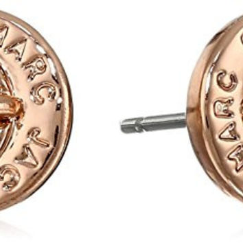 Marc Jacobs Rose Gold Turn Lock Stud Earrings