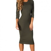 Margo Olive Green 34 Sleeve Jersey Bodycon Midi Dress