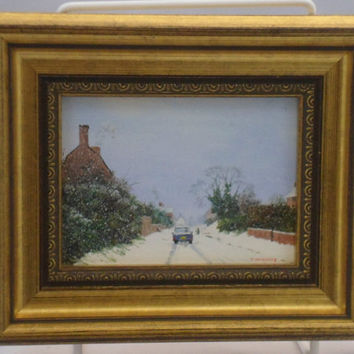 Minature painting by Robert Hughes - 6116 Snowstorm at Easton Royal . Original oil painting on board.  Signed & labelled with written title
