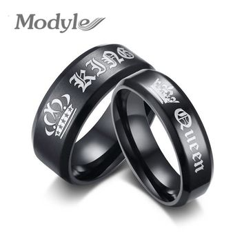 Cool Modyle 2018 New Fashion Engagement Ring Black King and Queen Couple Wedding Bands Promise Ring for Men and WomenAT_93_12