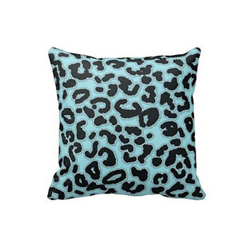 Top Sale Modern Stylish Trendy Classic Leopard Print Design Blue and Black Leopard Animal Square Zippered Throw Pillow Cover