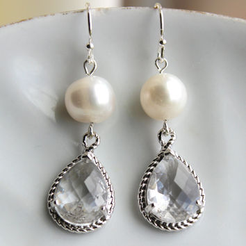 Freshwater Pearl Crystal Earrings Silver Two Tiered Clear Pearl Bridesmaid Earrings Bridal Earrings - Bridesmaid Jewelry - Wedding Earrings