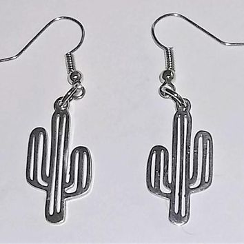 "Cactus Stainless Steel Artisan Crafted 1.75"" Dangle Earrings"