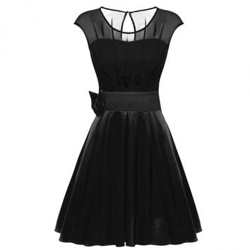 Women Round Neck Sleeveless Bowtie Ruffle Chiffon Satin Party Cocktail Dress