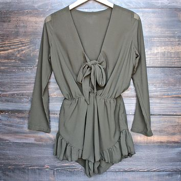 Lioness - green with envy ruffle hem romper - khaki green