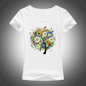 Tops and Tees T-Shirt 2017 summer beautiful Flowers plants trees printed t shirt women  tees short sleeve fashion T-shirt F13 AT_60_4 AT_60_4