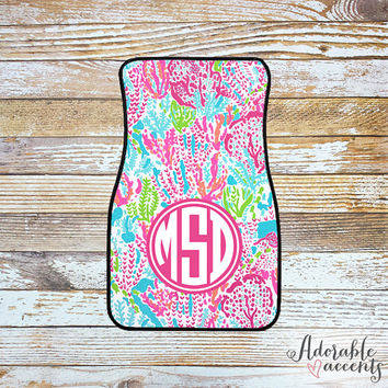 Monogrammed Lilly Pulitzer Inspired Car Mats - Let's Cha Cha