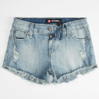Scissor Destructed Girls Cutoff Denim Shorts Medium Wash  In Sizes