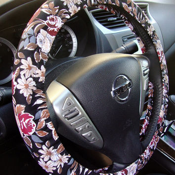 Handmade Steering Wheel Cover Vintage Style Floral Flowers on Black Fabric