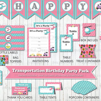 Transportation Themed Birthday, Printable Party Pack, DIY, Train, Truck, Banner, Invitation, Favors, Cupcake Toppers, Decorations, Pink