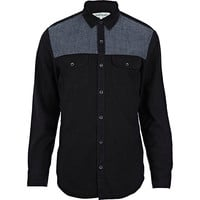 River Island MensBlack chambray yoke long sleeve shirt