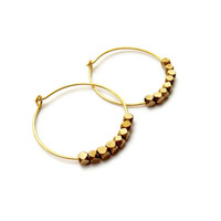 Women's Beaded Hoops Earrings - Brass