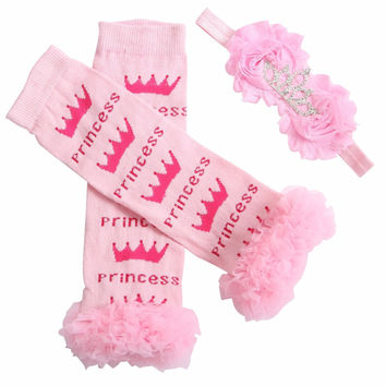 Baby LegWarmers Headbands Set,leg warmer sets for girls;leg tiara infantil High knee socks for kids diadema corona bebe,#3T0173