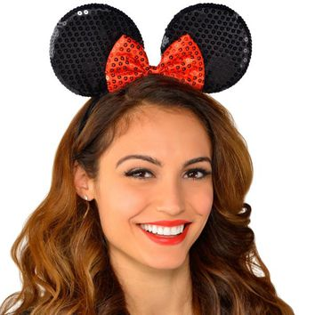 Minnie Mouse Sequin Bow Headband