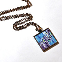 Art Pendant Necklace ~ Original Painting NOT a print - Wearable Art - Blue and Purple Statement Necklace - Handpainted Pendant