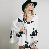 Flare Sleeve Chiffon Dress