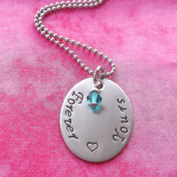 Oval Necklace with Swarovski Birth Month Bead Charm - Forever Yours
