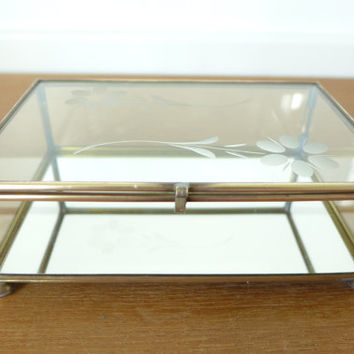 Etched flower glass and brass box, display box