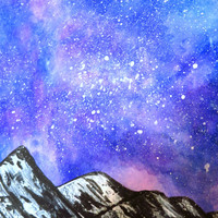 Purple Galaxy Ice Mountain Mixed Media Painting Poster Print