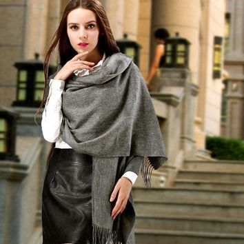Women Fashion Winter Gray Cashmere Scarf Long Casual Pure Color Warm Wraps Plaid Mufflers Shawls Stoles Blankets Outfit Wear