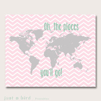Baby girl nursery decor, pink grey nursery decor, Oh the places you will go, world map nursery girls room decor - INSTANT DOWNLOAD