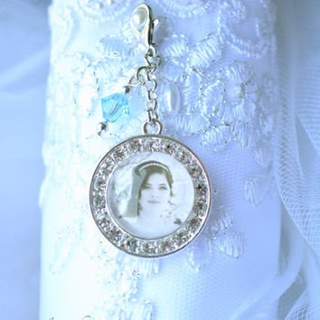 Bridal Bouquet Charm - Bouquet Photo Pendant - Wedding Picture Charm - Boutonniere Photo Charm -Custom Bridal Gift - Something Blue -