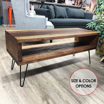 Mid Century Modern Coffee Table w/Hairpin Legs - Rustic Coffee Table - Media Console