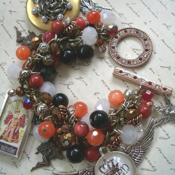 Eclectic Fairy Charm Bracelet - Whimsical Statement Bracelet with Mixed Beads and Eclectic Charms