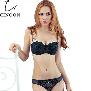 CINOON Women Lace Bra Sexy Lace-trim Cutout Push Up Half Cup Bra Lounge Bra and Panties Embroidery Bra Set underwear intimates