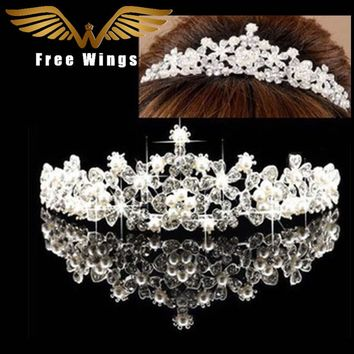 Pearl Wedding Bridal Hair Accessories Bride Crown Tiara Hair Head Jewelry Tiaras And Quinceanera Crowns Headpiece Pins comb ABC