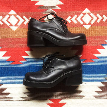 90s Super Chunky Platform Black Oxford Lace Up Shoes  |  Genuine Leather  |  US Women's Size 8.5 / 9 |  Grunge Goth  Punk Avant Garde