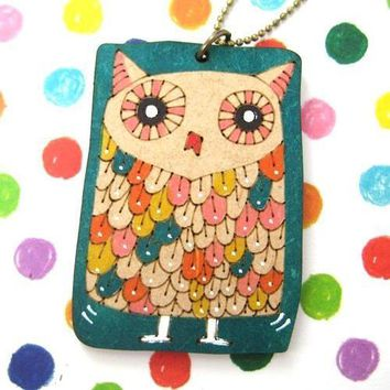 Owl Bird Animal Hand Drawn Pendant Necklace in Green Ink on Wood