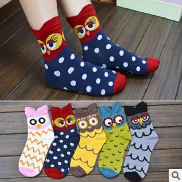 free shipping 24pc=12pairs=1LOT free size 5 color mix Korea cute animal cartoon owl cotton ladies socks cotton socks wholesale