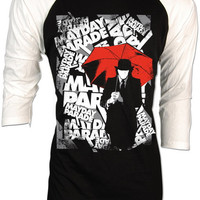 Mayday Parade Derek Sanders Red Umbrella Rise Retro Vintage Adult Raglan Baseball 2 Tones men women S,M,L