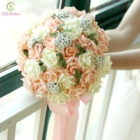 Romantic Sweet Bridal Bouquet Rose Flowers Wedding Bouquet Bridesmaid Wedding Props Accessories
