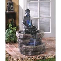 Zen Buddha Garden Water Fountain w/ LED Lighting