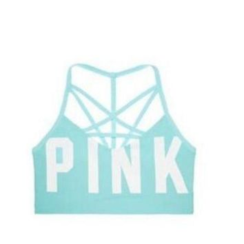 ONETOW Victoria's secret Pink Women's yoga fitness stretching movement seamless outside cross sports bra F Blue