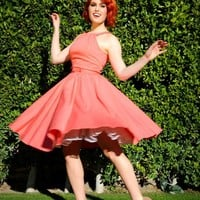 Harley Dress in Peach Sateen