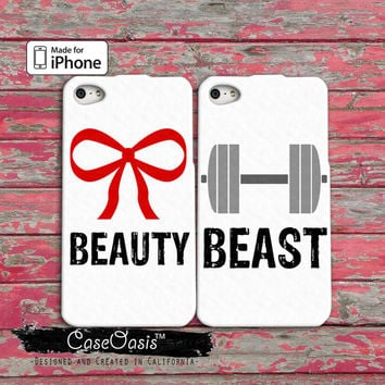 Beauty Beast Pair Couple Case Bow Weights Gym Workout iPhone 4/4s Case and iPhone 5/5s/5c Case and Wallet Case and iPhone 6 and 6 Plus Case