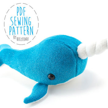Narwhal Stuffed Animal Sewing Pattern, Whale Pattern, Plush Toy Pattern, PDF Tutorial