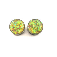 Yellow holographic plugs / sparkle gauges / 8g, 6g, 4g, 2g, 0g, 00g, 7/16, 1/2, 9/16, 5/8, 11/16, 3/4, 7/8, 1 inch / yellow plugs