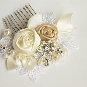 Wedding  hair comb, Bridal hair comb, Pearl hair comb, Lace hair comb,Lace wedding hair comb, Bridal headpiece, Wedding hadpiece