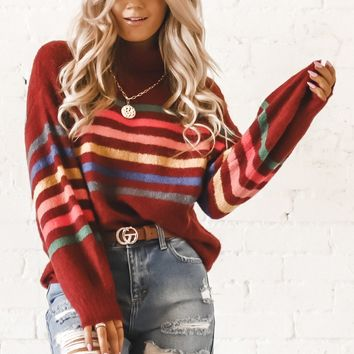 Baby Girl Burgundy Striped Turtle Neck Sweater
