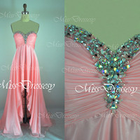 Strapless Sweetheart Front Short Long Back Chiffon Pink High Low Prom Dresses, Wedding Party Dresses, Formal Gown, Prom Gown