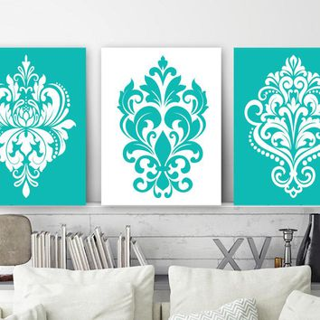 Turquoise Bedroom Pictures Canvas or Prints Turquoise Bathroom Decor, Damask Design Wall Art, Turquoise Damask Pictures, Set of 3 Artwork