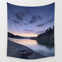 """Mountain light"". Blue sunset. Wall Tapestry by Guido Montañés"